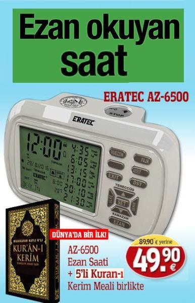 Eratec Ezan Saati<br />AZ 6500 Yeni Model&#160;<br />Be&#351; vakit T&#252;rkiye Ezan&#305;&#160;okur<br />5'li Kuran-&#305; Kerim ile Birlikte