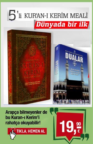 5'li Kuran-&#305; Kerim Meali<br />D&#252;nya'da Bir Ilk,&#160;<br />Hikmetli ve&#160;T&#305;ls&#305;ml&#305;&#160;Dua Kitab&#305;<br />Arap&#231;a Bilmeyenler Bu Kuran-&#305; Kerim'i Okuyabilir!